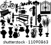 Silhouettes of different objects - vector - stock vector