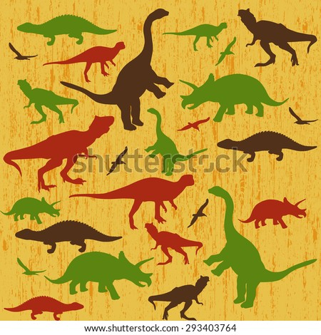 Silhouettes of dinosaur on yellow grunge background, vector illustration