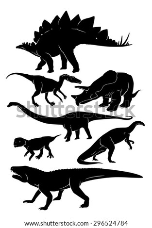 silhouettes of dinosaurs vector set