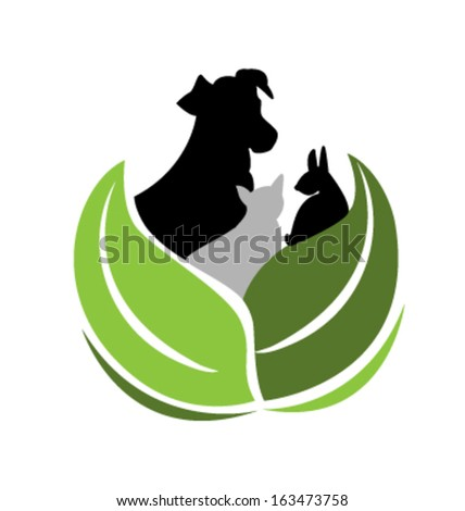 Silhouettes of Dog Cat and Rabbit vector icon - stock vector