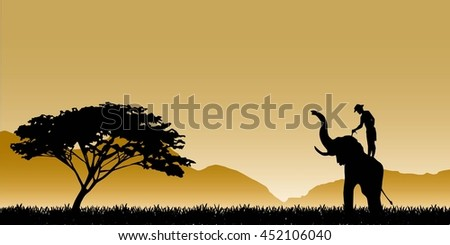 Silhouettes of elephants on mountain backgrounds