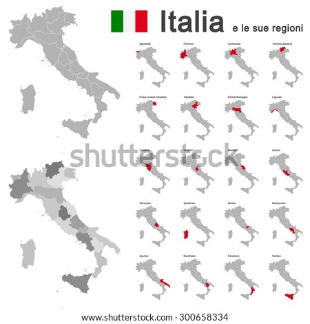 silhouettes of european country Italia and the regions - stock vector