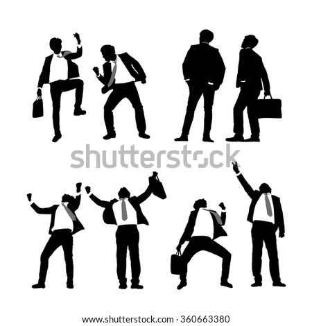 Silhouettes of excited business men with white background
