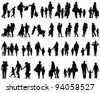silhouettes of families walking-vector - stock photo