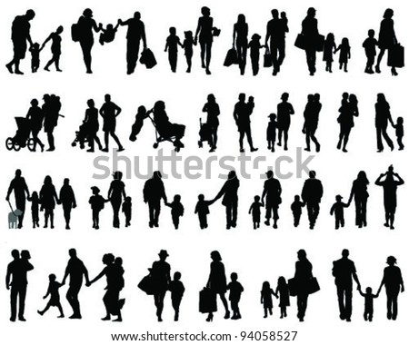 silhouettes of families walking-vector