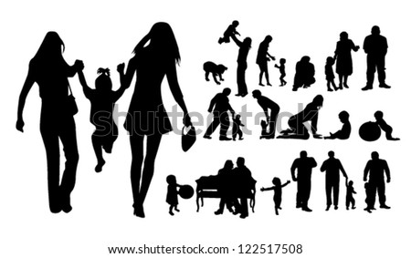 silhouettes of family and children - stock vector