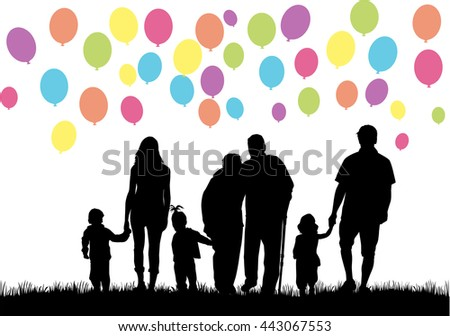 Silhouettes of family. Balloon background.