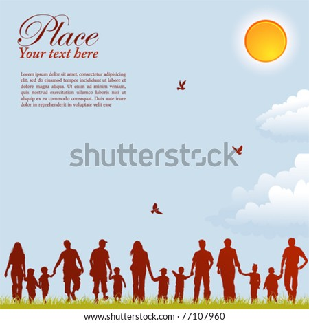 Silhouettes of family on nature background with bird, sun and grass, element for design, vector illustration