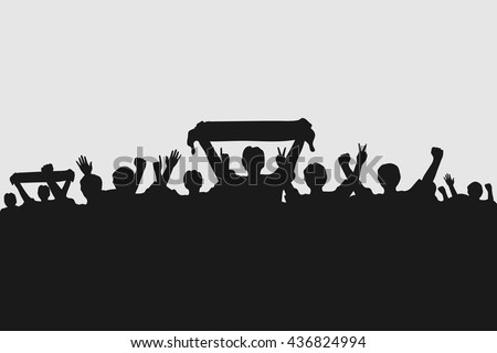 Silhouettes of fans celebrating a goal. Rio Olympics 2016. Vector illustration