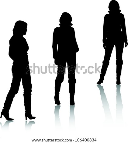 Silhouettes of fashion girls - stock vector