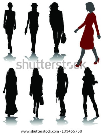 Silhouettes of fashion-vector - stock vector