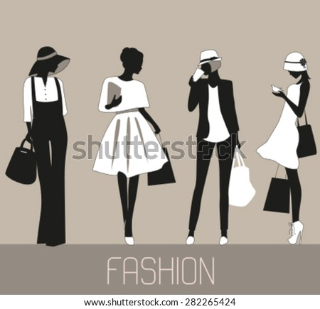 Silhouettes of Fashion women. Vector - stock vector