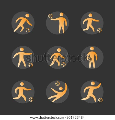 Silhouettes of figures soccer player icons set. Soccer vector symbols.