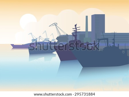 Silhouettes of fishing vessels and barge on the background of the sea port and seascape. - stock vector