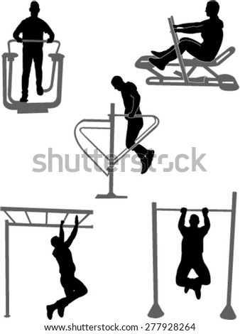 silhouettes of fitness people vector
