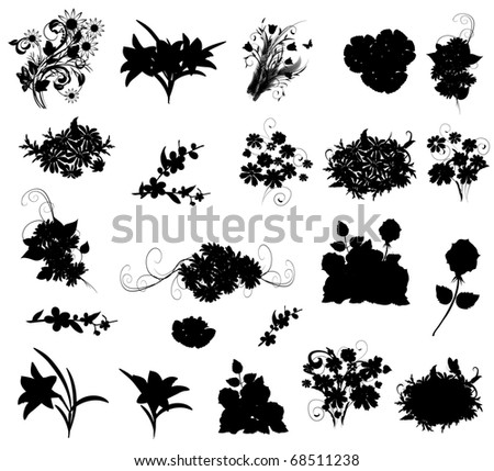 silhouettes of flowers