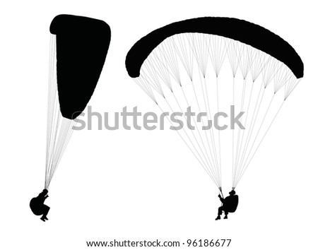 Silhouettes of flying paragliders. Vector - stock vector