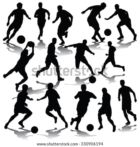 Silhouettes of football players. Vector illustration