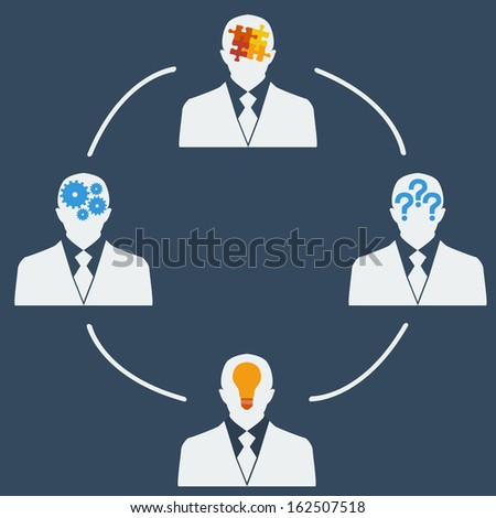 Silhouettes of four people with different thoughts. The concept of teamwork - stock vector