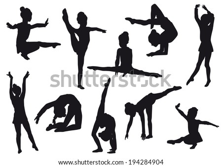 Silhouettes of girl, children at dance, aerobics, shaping. Girl gymnast athlete isolated on white background - stock vector
