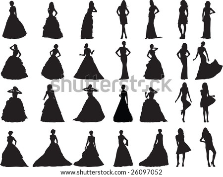silhouettes of girls are in weddings and ball clothes - stock vector
