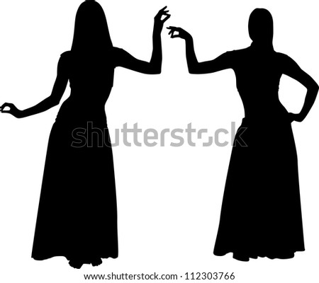 Silhouettes of girls dancing belly