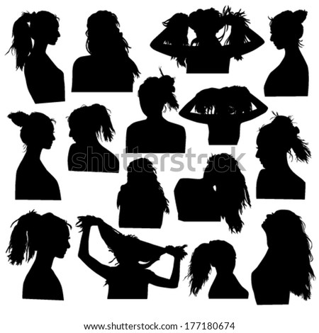 Silhouettes of girls hairstyles - stock vector