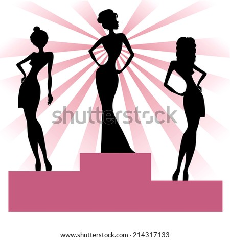 silhouettes of girls on the catwalk