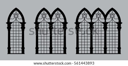 Silhouettes Of Gothic Windows Isolated On Gray Background