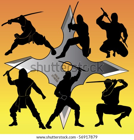 Silhouettes of group of a ninjia against an asterisk for a throwing - stock vector