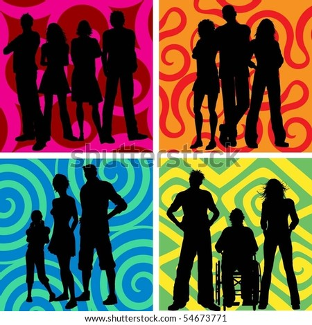 Silhouettes of groups of people - stock vector