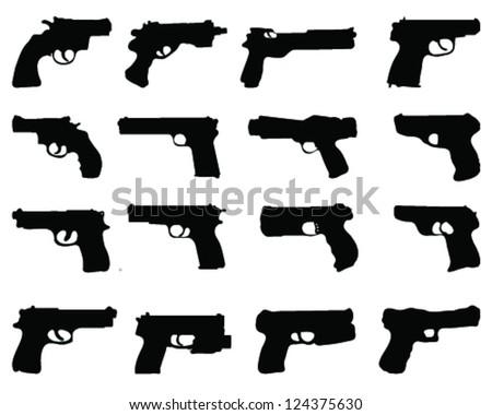 Silhouettes of guns-vector - stock vector