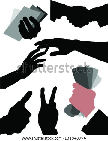 Silhouettes of hands-vector