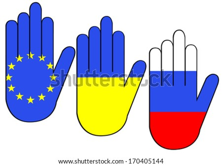 Silhouettes of hands with flags of Ukraine and Russia - stock vector