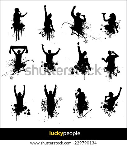 Silhouettes of happy people for different purposes  - stock vector