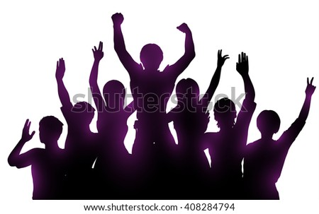 Silhouettes of happy people with hands up on white background