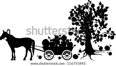 silhouettes of horses harnessed to a cart (the harvest of apples)