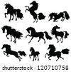 silhouettes of horses in motion on a white background - stock vector
