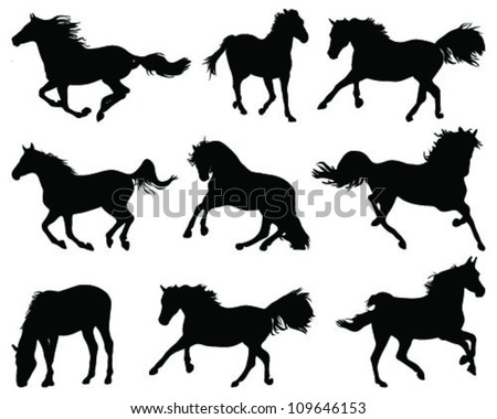 Silhouettes of horses 2 -vector
