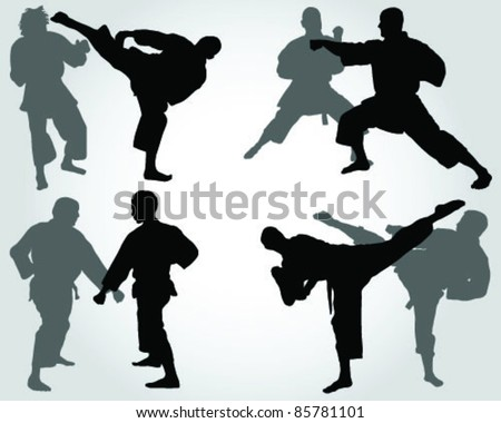 silhouettes of karate fighting  -vector - stock vector