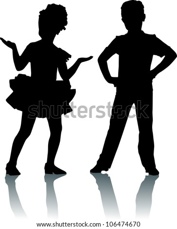 Silhouettes of kids - stock vector