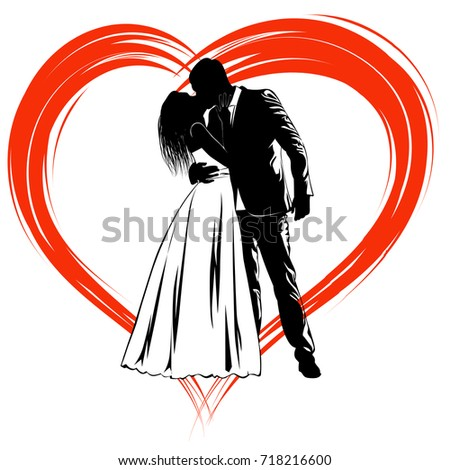 Silhouettes of kissing bride and groom on an abstract background in the shape of a heart