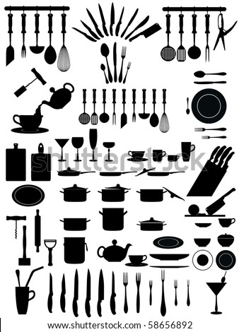 silhouettes of kitchen accessories, cutlery, various types of knives dishes... - stock vector