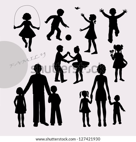 Silhouettes of little children and adult peoples - stock vector