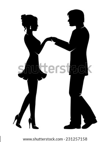 Silhouettes of lovers, men and women holding hands  - stock vector
