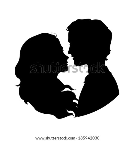 Silhouettes of loving couple - stock vector