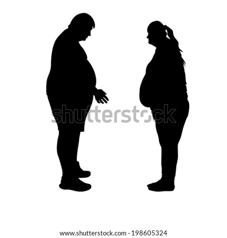 silhouettes of man and woman which have big weight - stock vector