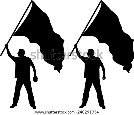 silhouettes of man with banner - stock vector