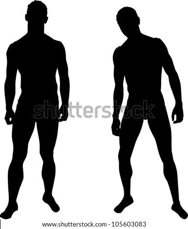 silhouettes men stock vector 105603083 shutterstock rh shutterstock com man silhouette vector side dancer silhouette man vector