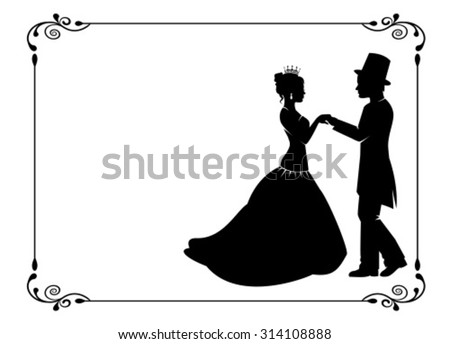 silhouettes of men and women in ancient costumes in vintage frame - stock vector